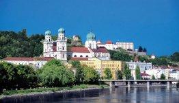 In het Beierse Passau komen drie rivieren bijeen, de Donau, de Inn en de Ilz