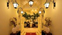 De imposante hal van Hotel Polonia Palace