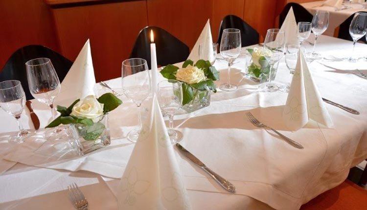 De gedekte tafel staat voor u klaar bij Gasthof Baumgarten