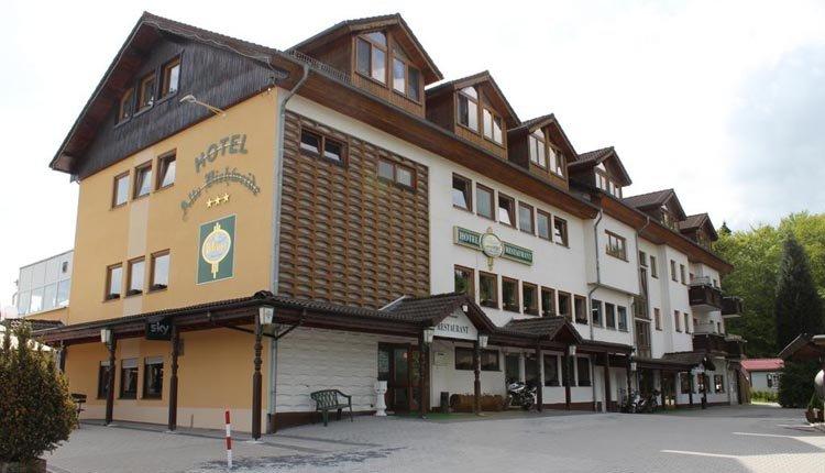 De entree van Hotel Alte Viehweide