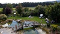 Heerlijk relaxen en/of zwemmen in de tuin van Hotel Weiss