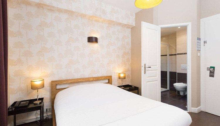 De tweepersoonskamers in Hotel L'Aubergade zijn comfortabel