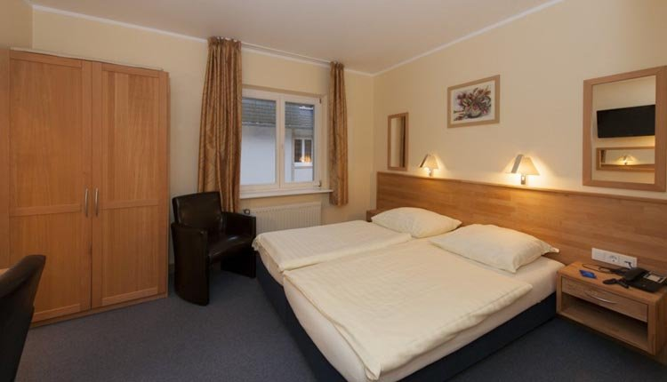 De tweepersoonskamer in Hotel Belle Vue in Vianden