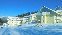 Hotel Ahornhof in Lindberg in een winters landschap