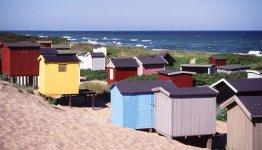 De badhuisjes aan de kust van Seeland in Denemarken