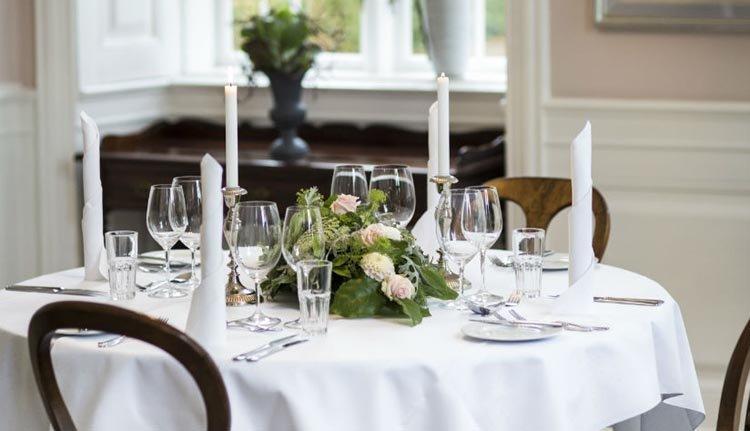 In het restaurant van Hindsgavl Slot kunt u heerlijk eten