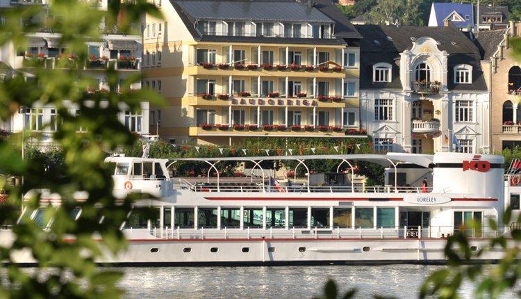 Hotel Baudobriga is fantastisch gelegen, direct aan de Rijn