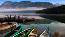 Het rustige meer van Bohinj