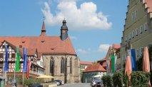 De ligging van Gasthof Lamm middenin het hart van Feuchtwangen